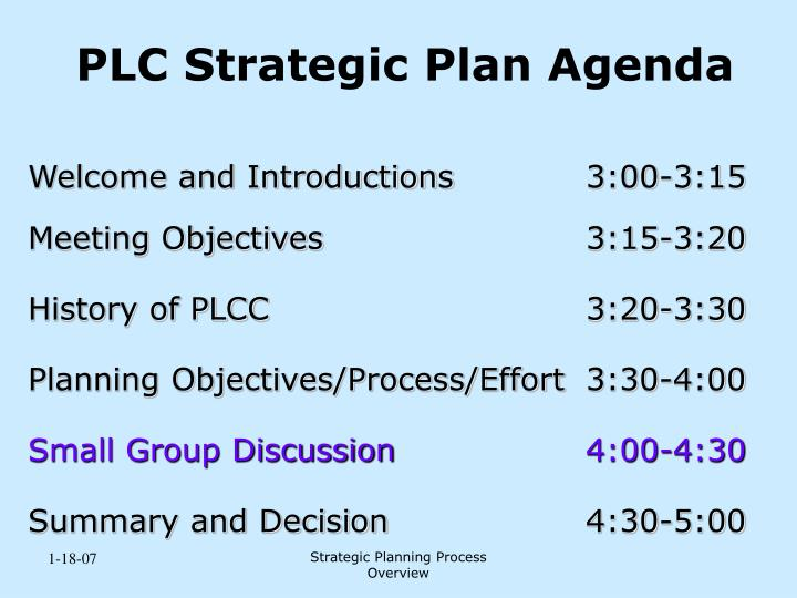 PLC Strategic Plan Agenda