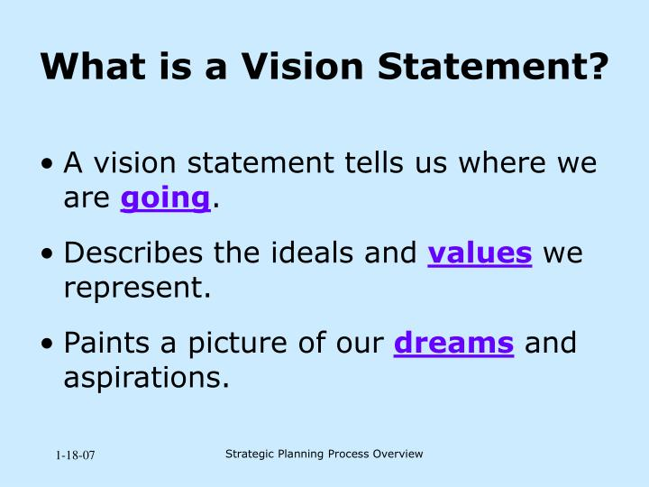 A vision statement tells us where we are