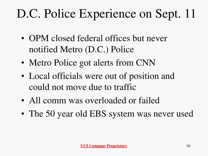 D.C. Police Experience on Sept. 11