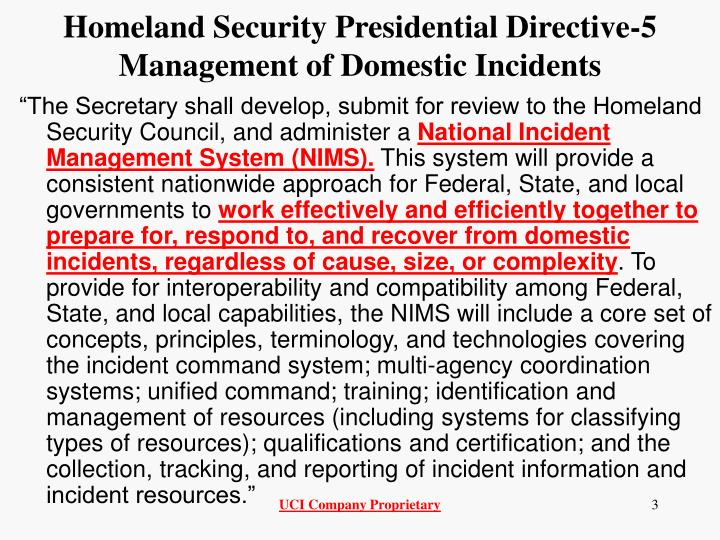 Homeland Security Presidential Directive-5