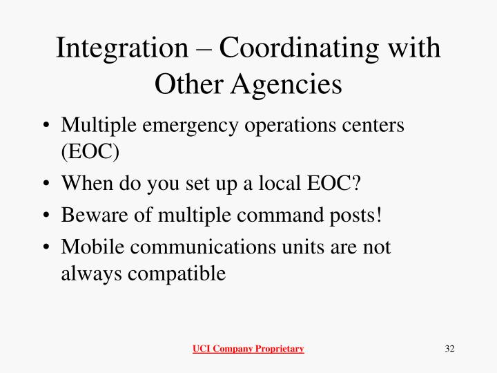 Integration – Coordinating with Other Agencies