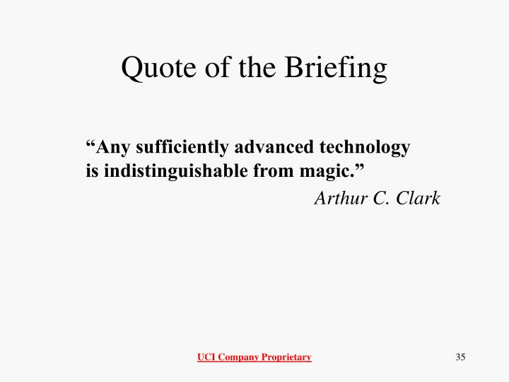 Quote of the Briefing