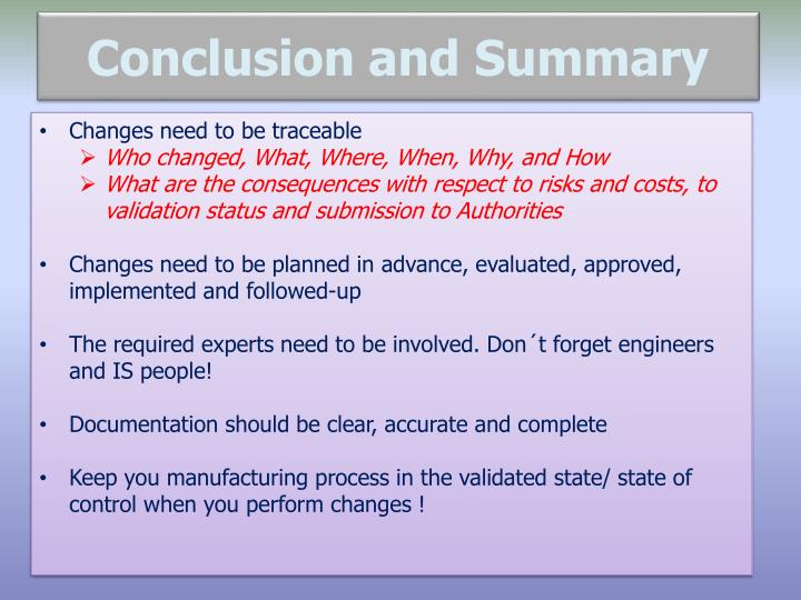 Conclusion and Summary