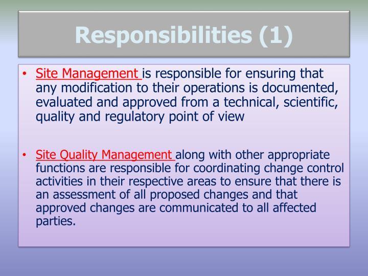 Responsibilities (1)