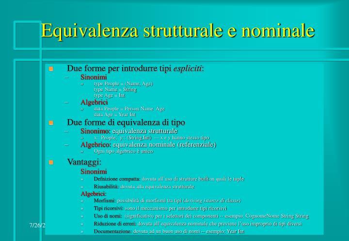 Equivalenza strutturale e nominale