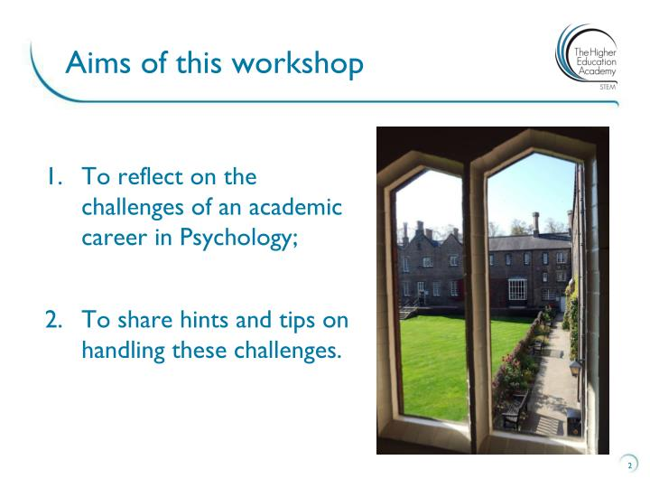 Aims of this workshop