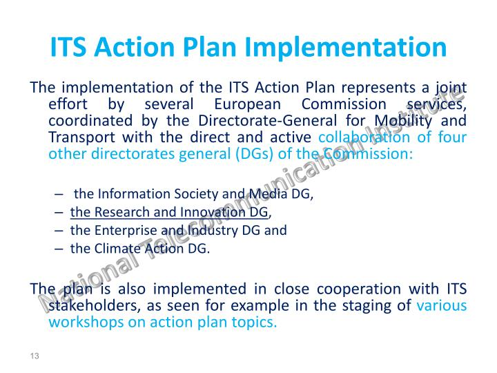 ITS Action Plan Implementation