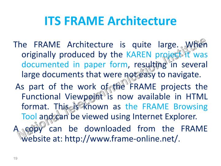 ITS FRAME Architecture