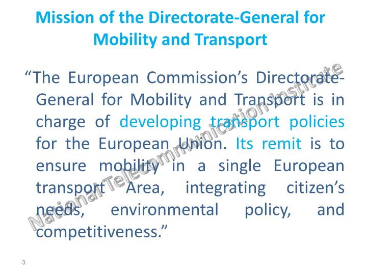 Mission of the directorate general for mobility and transport