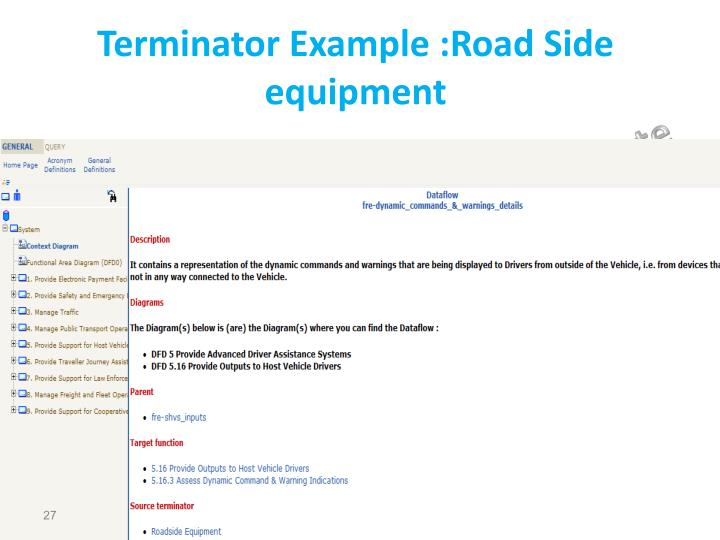 Terminator Example :Road Side equipment