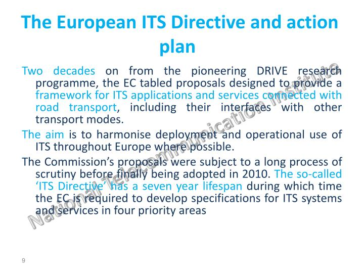The European ITS Directive and action plan