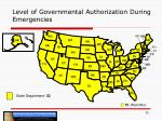 level of governmental authorization during emergencies