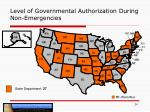 level of governmental authorization during non emergencies