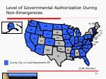 level of governmental authorization during non emergencies1