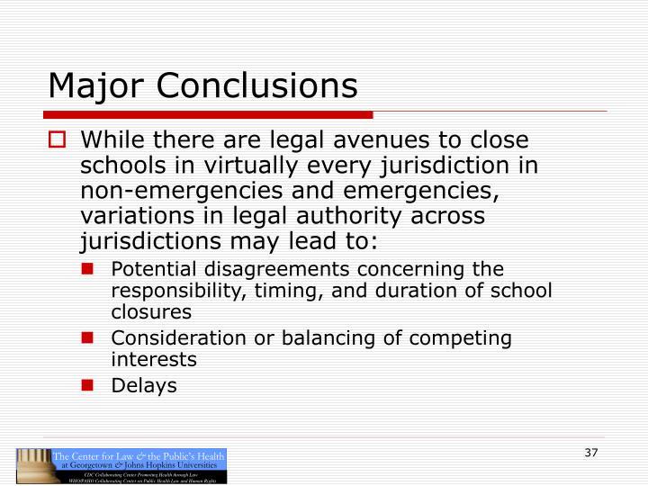 Major Conclusions