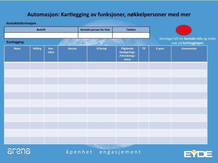 Automasjon: Kartlegging av funksjoner, nøkkelpersoner med mer