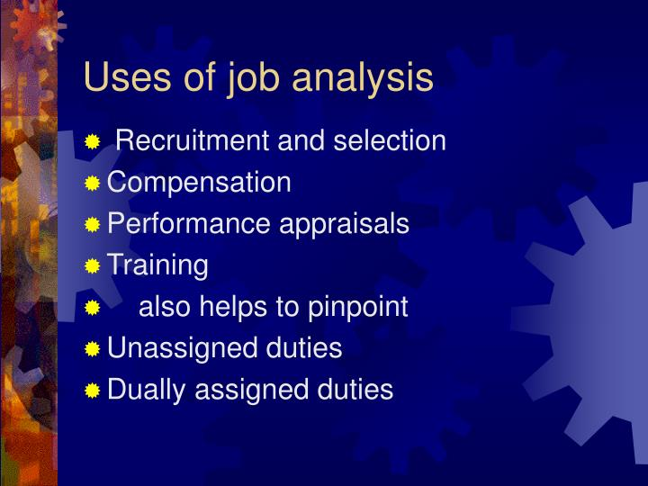 Uses of job analysis