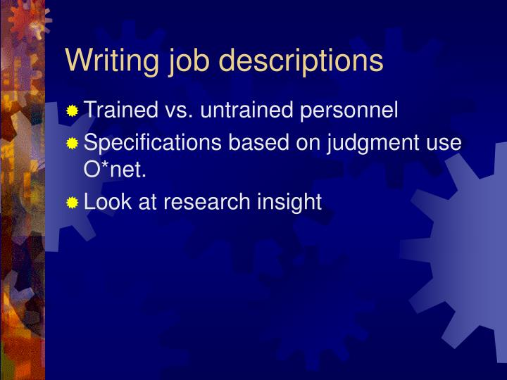 Writing job descriptions