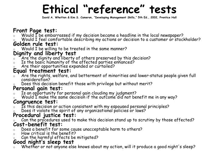 "Ethical ""reference"" tests"