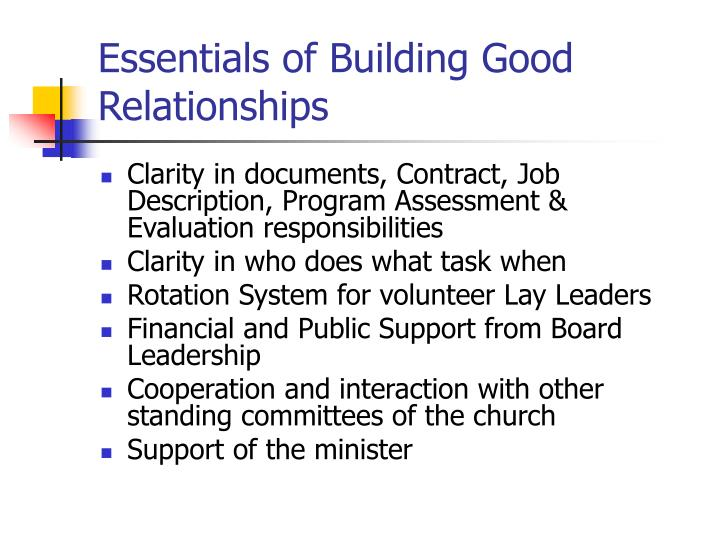 Essentials of Building Good Relationships