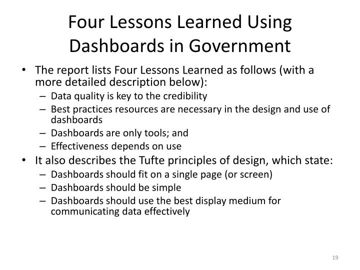 Four Lessons Learned Using Dashboards in Government