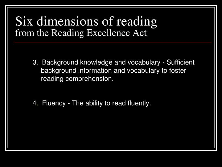 Six dimensions of reading