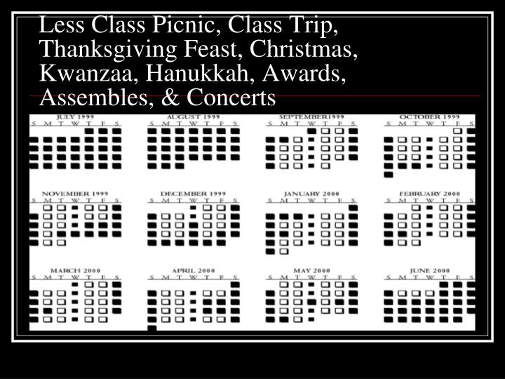 Less Class Picnic, Class Trip, Thanksgiving Feast, Christmas, Kwanzaa, Hanukkah, Awards, Assembles, & Concerts