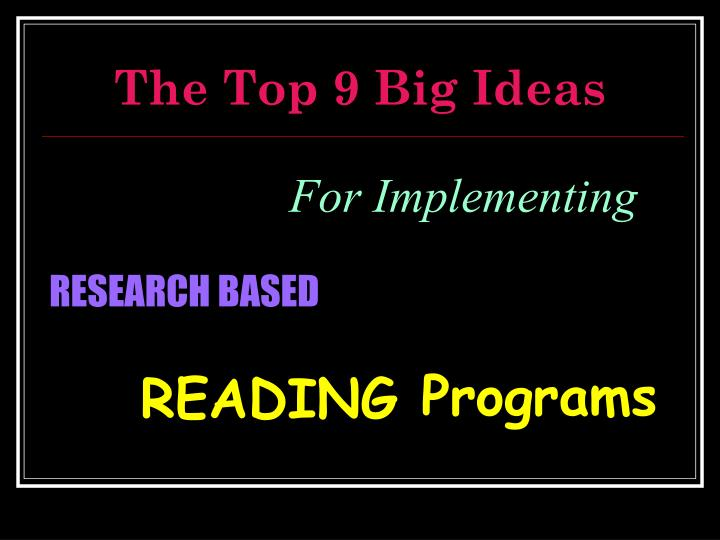 The Top 9 Big Ideas