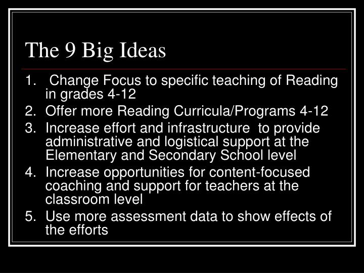 The 9 Big Ideas