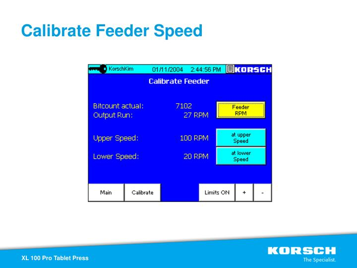 Calibrate Feeder Speed