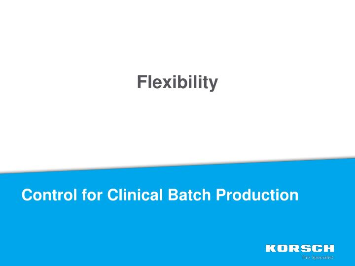 Control for Clinical Batch Production