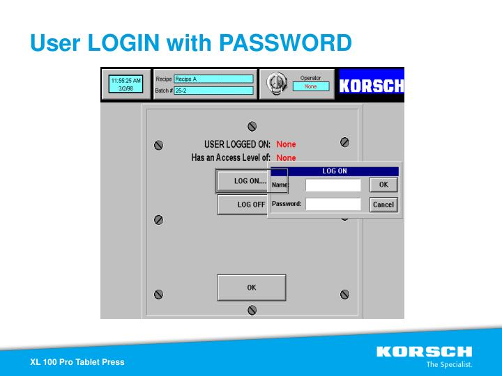 User LOGIN with PASSWORD