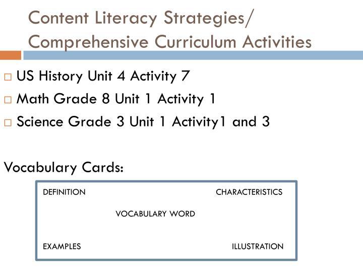 Content Literacy Strategies/ Comprehensive Curriculum Activities