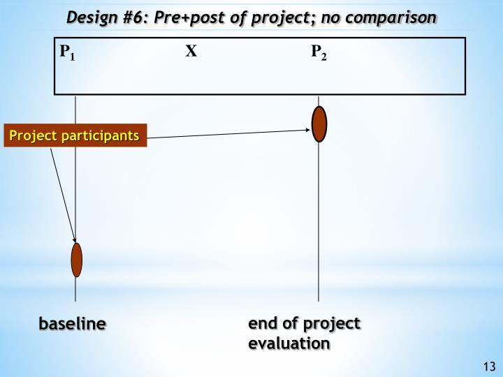 Design #6: Pre+post of project; no comparison