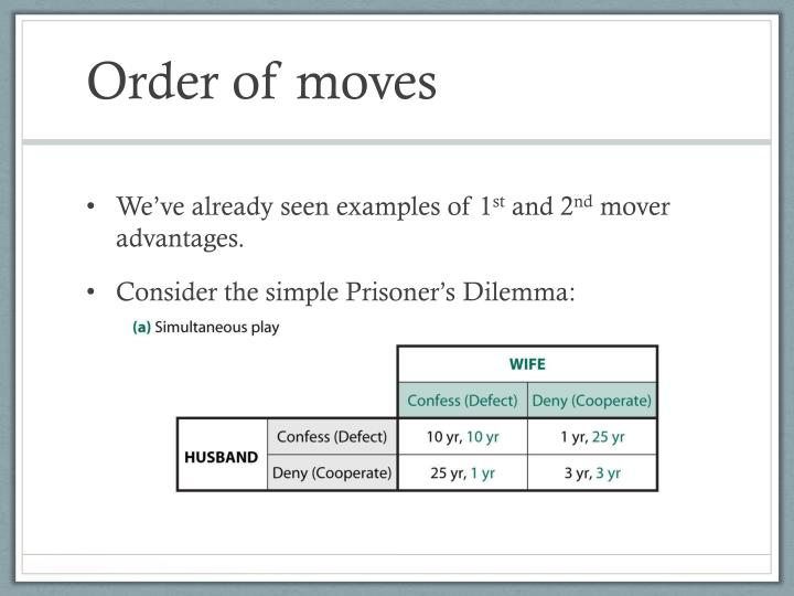 Order of moves