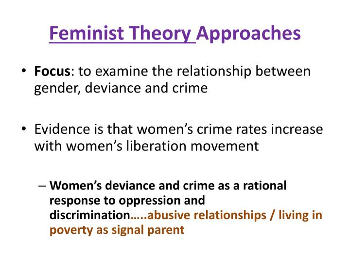 feminism and crime and deviance essay Outline and assess feminist explanations for the relationship between outline and assess feminist explanations assess the view that crime and deviance.