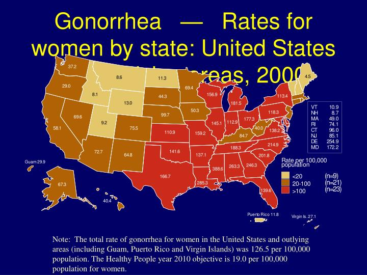 Gonorrhea   —   Rates for women by state: United States and outlying areas, 2000