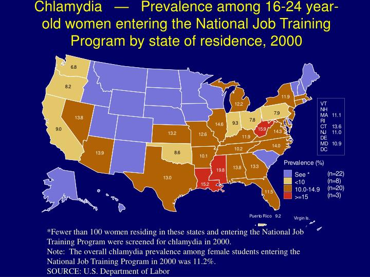 Chlamydia   —   Prevalence among 16-24 year-old women entering the National Job Training Program by state of residence, 2000