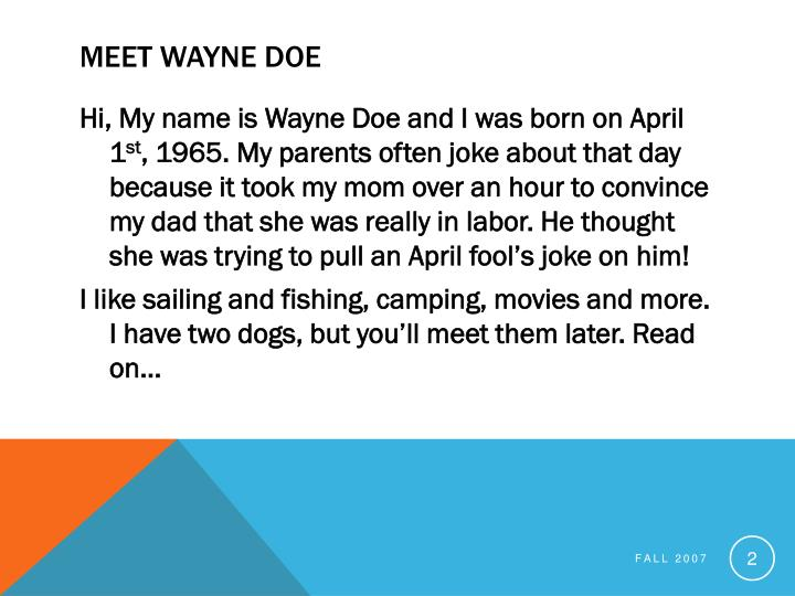 Meet Wayne Doe