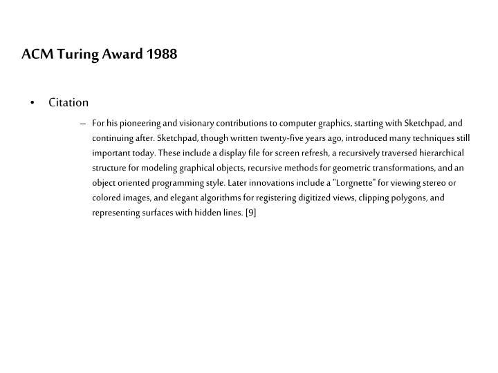 ACM Turing Award 1988