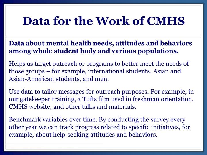 Data for the Work of CMHS