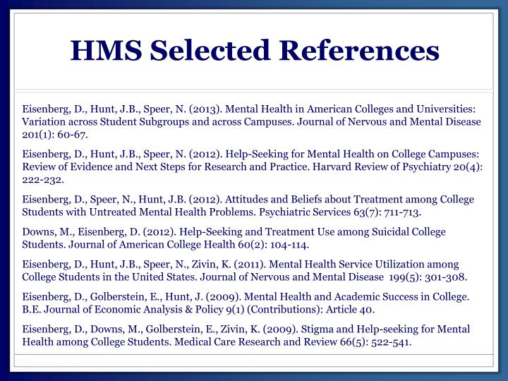 HMS Selected References