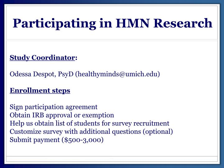 Participating in HMN Research