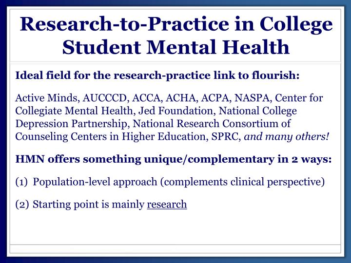 Research-to-Practice in College Student Mental Health