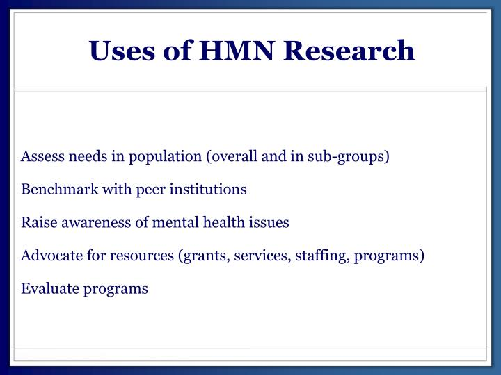Uses of HMN Research