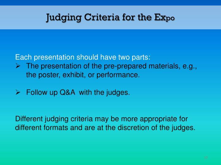 Judging Criteria for the Ex