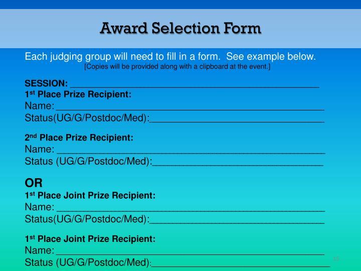 Award Selection Form