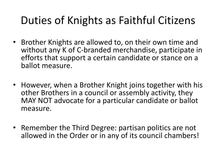 Duties of Knights as Faithful Citizens