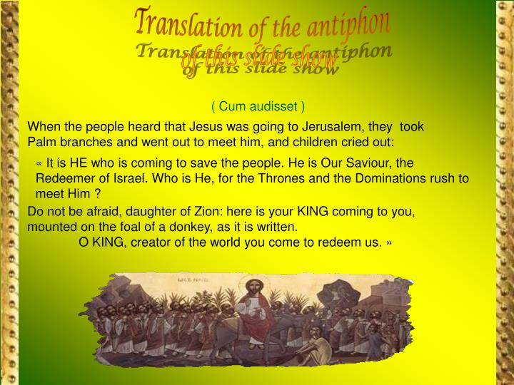 Translation of the antiphon