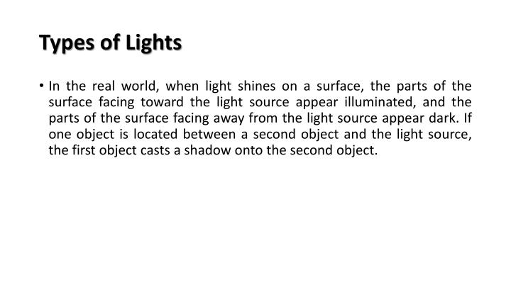 Types of lights